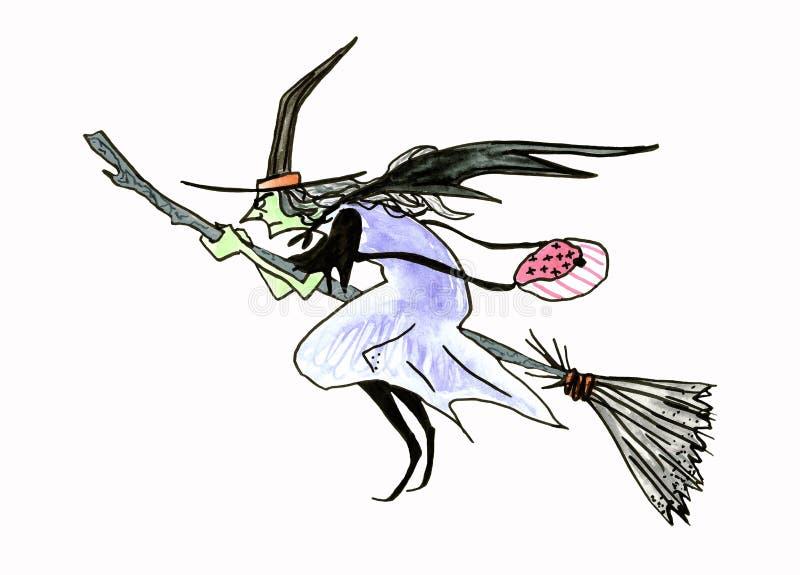 Sorcière effrayante de vol fond de Halloween avec la sorcière sur le balai D'isolement sur le blanc illustration stock
