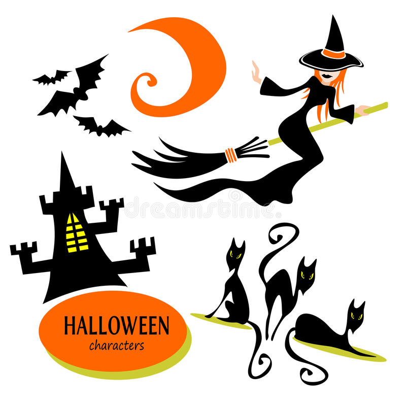 Sorcière et château de Halloween illustration libre de droits