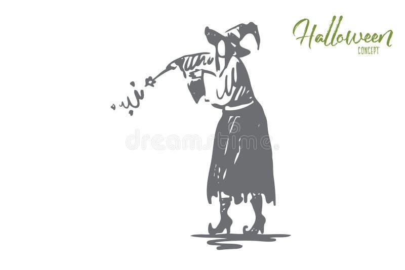 Sorcière, magie, Halloween, vacances, concept de chapeau Vecteur d'isolement tir? par la main illustration libre de droits