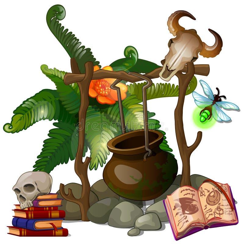 Sorcière ou sorcier de camp avec des articles de pot et de rituel illustration de vecteur