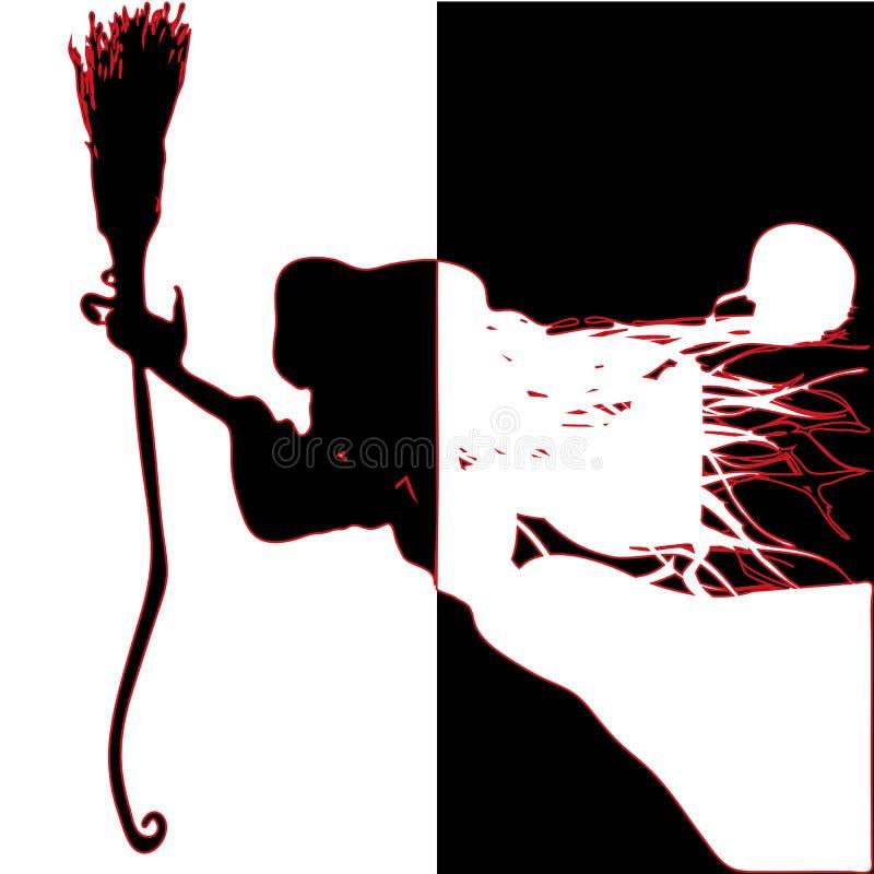sorcière Silhouettes noires et blanches photo libre de droits