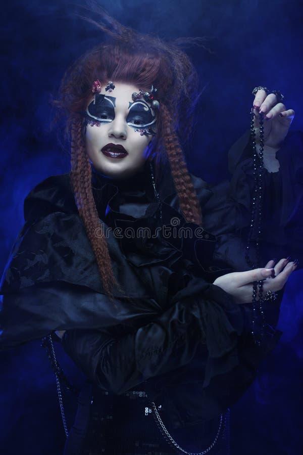 Sorci?re gothique Femme fonc?e Illustration de Veille de la toussaint photo stock