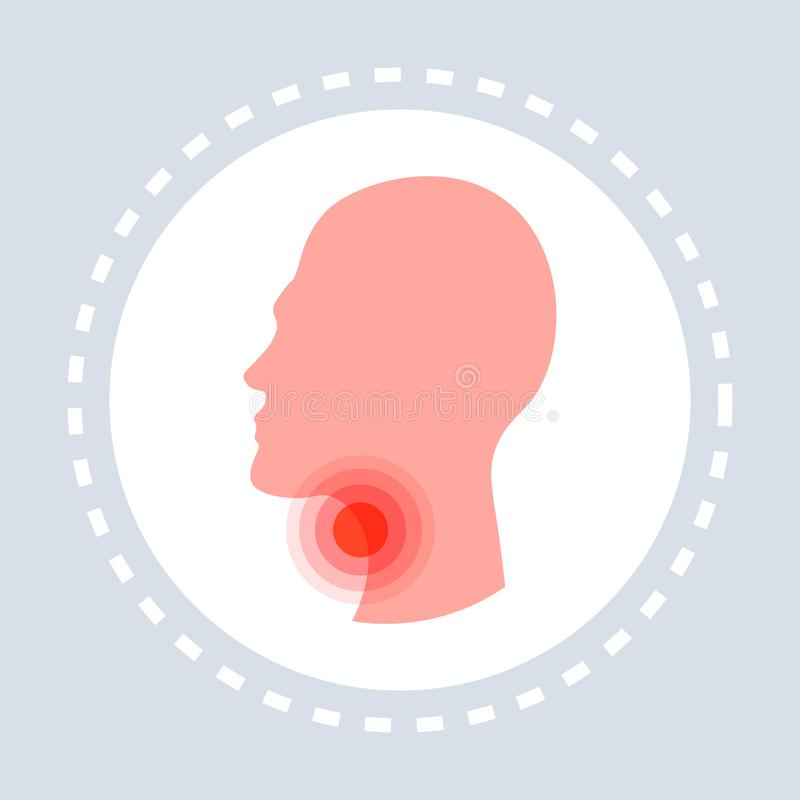 Sore throat ache concept human head profile icon healthcare medical service logo medicine and health symbol flat. Vector illustration vector illustration