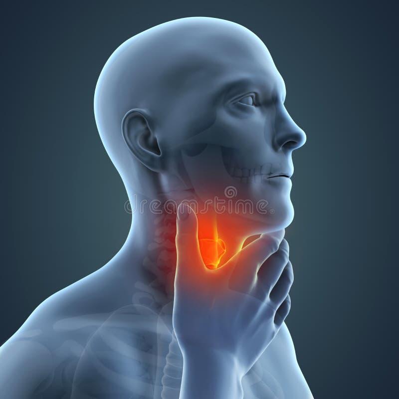 Sore Throat Illustration. 3D render royalty free illustration