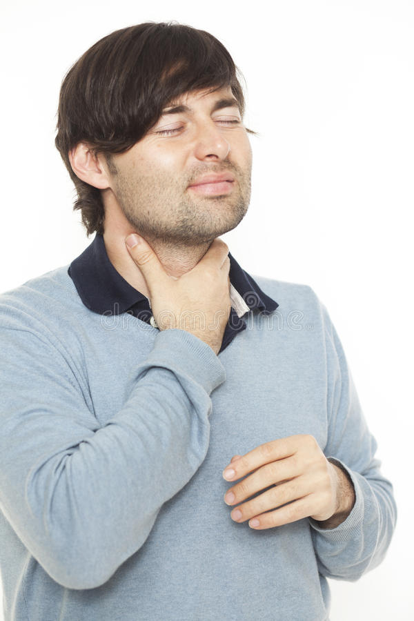 Download Sore throat man stock photo. Image of neck, pain, sore - 23030114