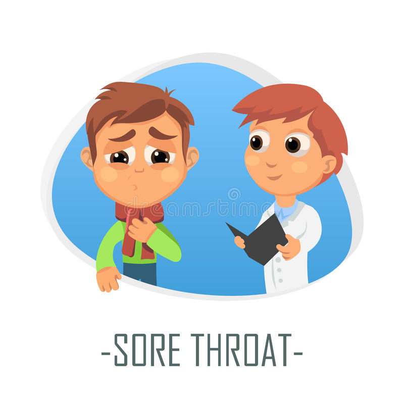 Sore throat medical concept. Vector illustration. Doctor and patient are talking in the hospital. Isolated on white background royalty free illustration