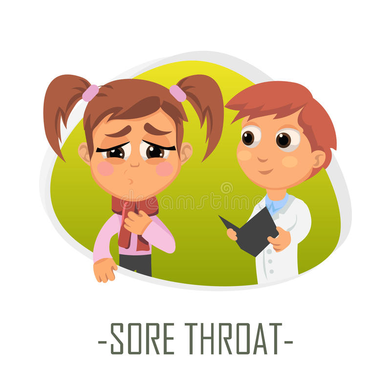 Sore throat medical concept. Vector illustration. Doctor and patient are talking in the hospital. Isolated on white background stock illustration
