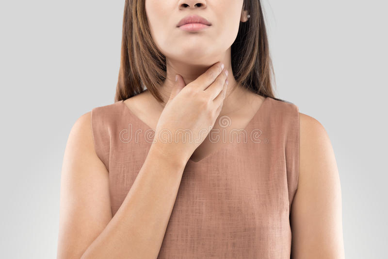 Sore throat woman on gray background stock image