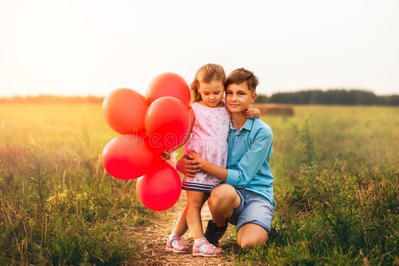 Sorella più anziana degli abbracci del fratello di estate in natura fotografie stock