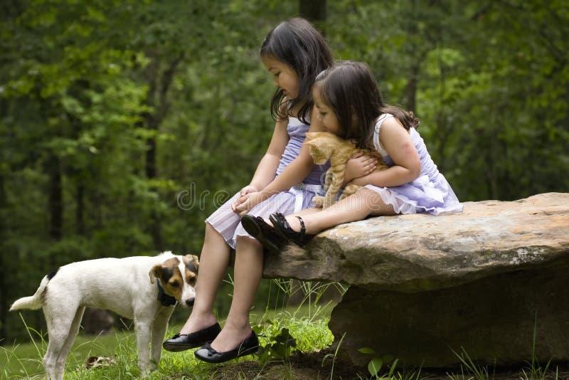 Sorelle asiatiche con i loro animali domestici immagini stock libere da diritti