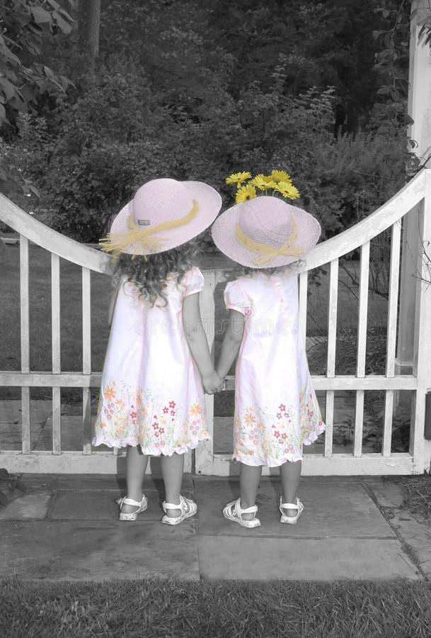 Sorelle che osservano sopra il cancello di giardino fotografia stock libera da diritti