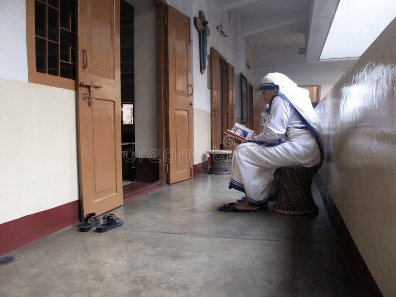Sorelle dei missionari di Madre Teresa di carità nella preghiera immagine stock