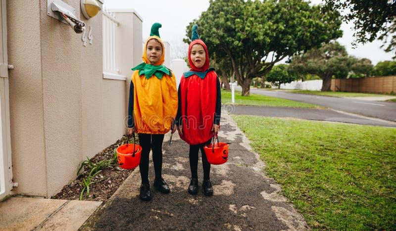 Sorelle gemellate chetrattano su Halloween immagine stock