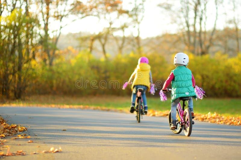 Sorelline sveglie che guidano le bici in un parco della citt? il giorno soleggiato di autunno Svago attivo della famiglia con i b immagini stock libere da diritti