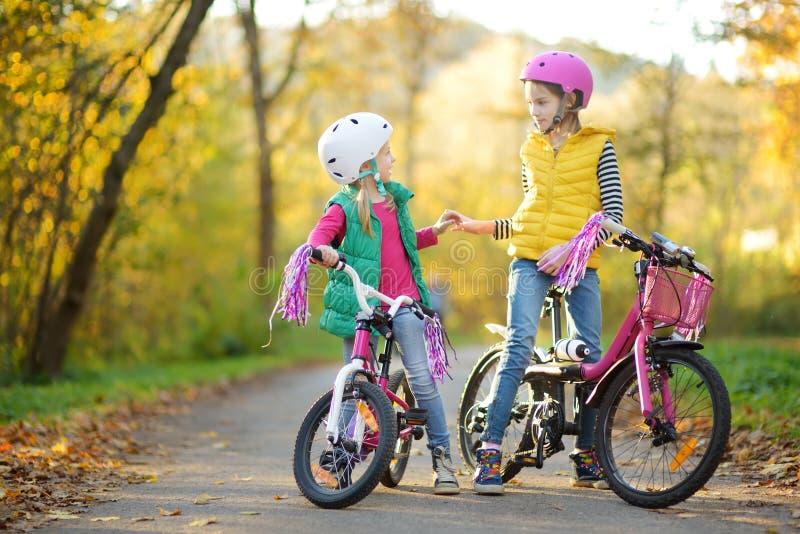Sorelline sveglie che guidano le bici in un parco della citt? il giorno soleggiato di autunno Svago attivo della famiglia con i b immagini stock