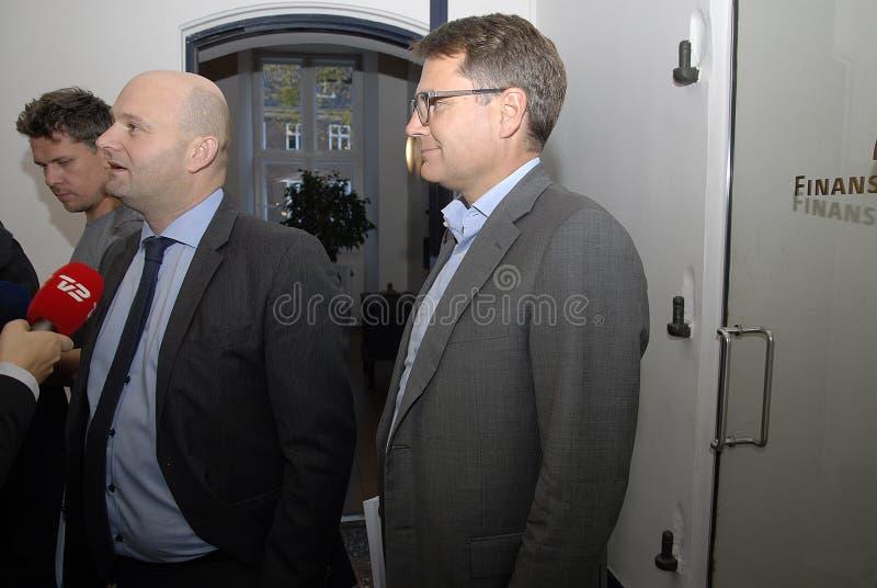SOREN PAPE POULSEN & BRIAN MIKKELSEN. Copenhagen/Denmark/ _ 27th October 2015 _Soren Pape Poulsen (S�ren Paper poulsen) leaders of danish conservative party stock photography