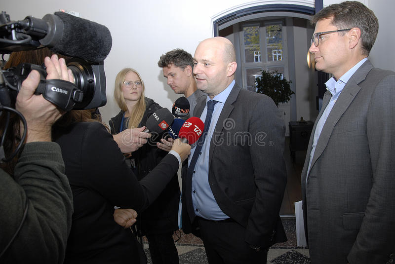 SOREN PAPE POULSEN & BRIAN MIKKELSEN. Copenhagen/Denmark/ _ 27th October 2015 _Soren Pape Poulsen (S�ren Paper poulsen) leaders of danish conservative party stock images