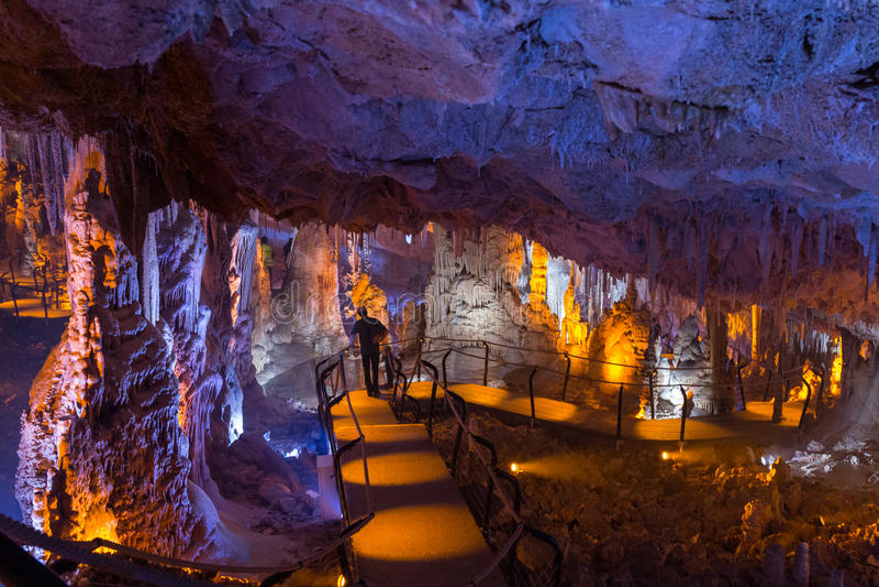 Soreq-Höhle. Stalaktit-Stalagmithöhle. Israel lizenzfreie stockbilder
