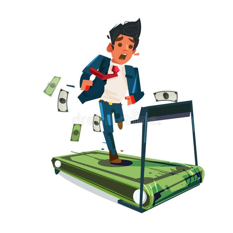 Sorgengeschäftsmann, der auf Geldtretmühle läuft Haben Sie kein Geld mehr Mousetrap mit dem Dollarzeichen getrennt auf weißem Hin stock abbildung