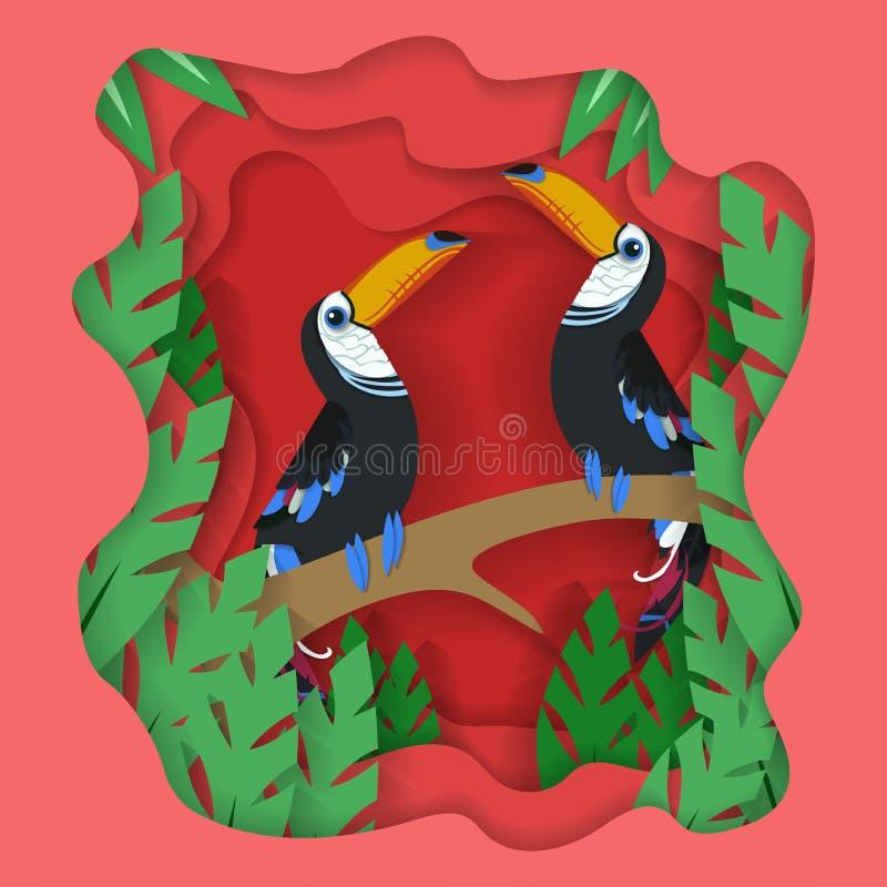 Sorgente bello vettore del fondo di progettazione del taglio della carta dell'uccello delle coppie royalty illustrazione gratis