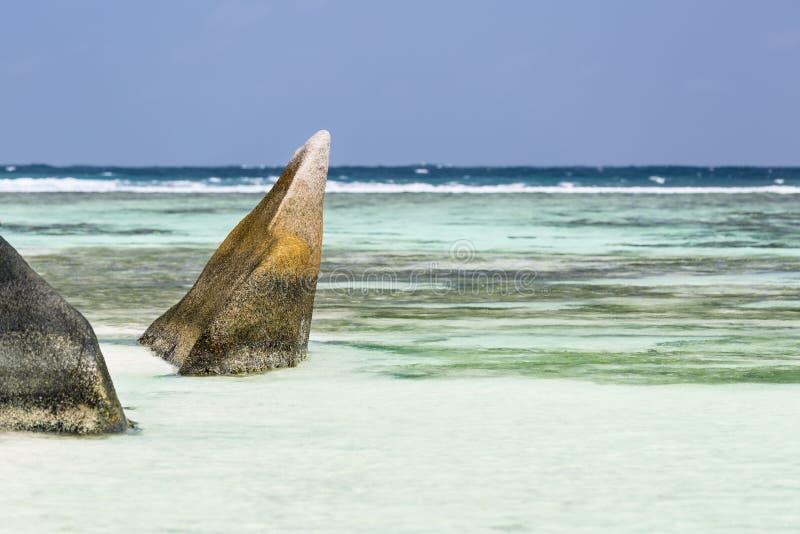 Sorgente d'Argent, La Digue, Seychelles di Anse fotografia stock
