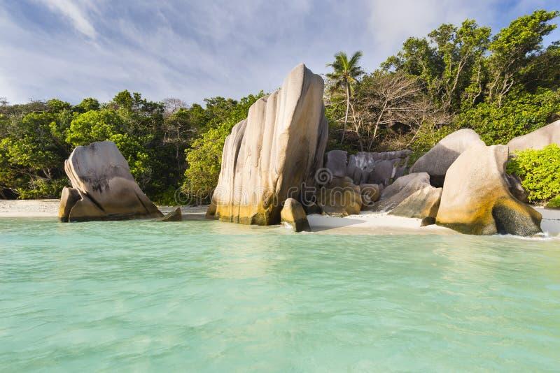 Sorgente d'Argent, La Digue, Seychelles di Anse fotografia stock libera da diritti