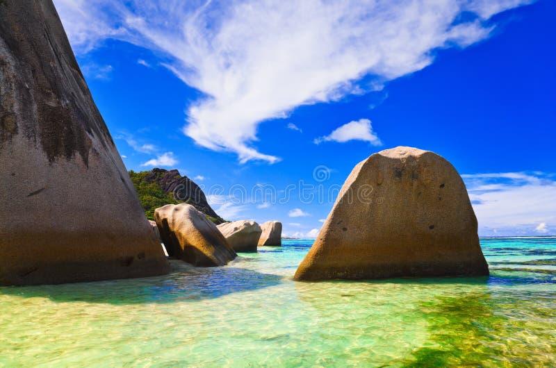 Sorgente della spiaggia d'Argent alle Seychelles fotografie stock libere da diritti