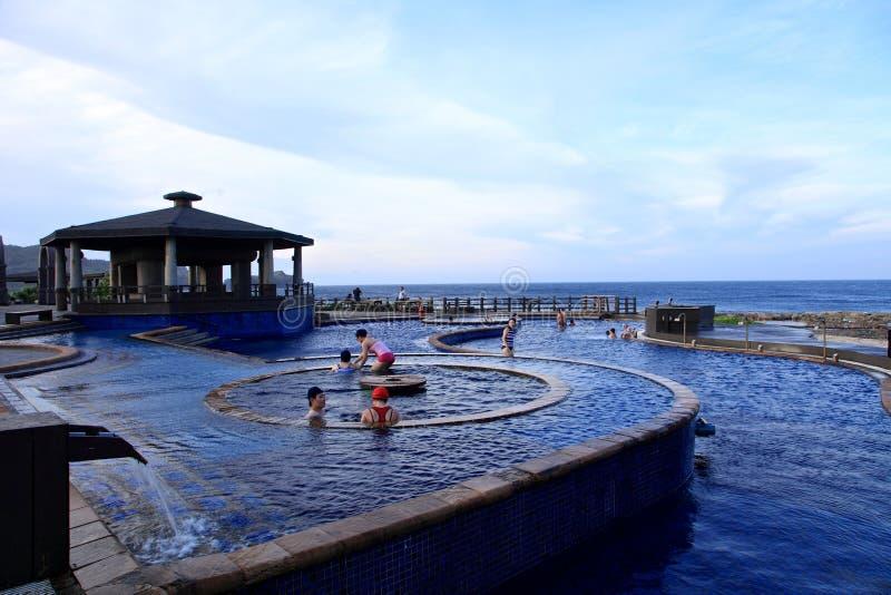 Sorgente di acqua calda di Jhaorih, isola verde, Taiwan fotografia stock