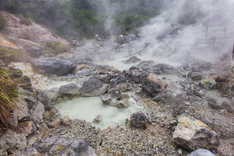 Sorgente di acqua calda di Unzen & inferno di Unzen a Nagasaki, Kyushu fotografie stock libere da diritti