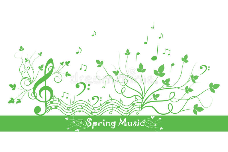 Sorgente floreale e musica illustrazione vettoriale