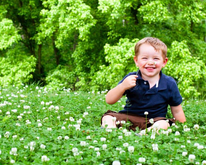 Sorgente o ritratto di estate di giovane ragazzo sveglio fotografia stock libera da diritti
