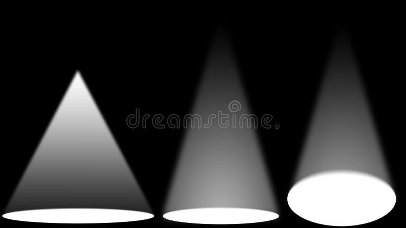 Sorgenti luminose di luce bianca sulla fase nera fotografie stock libere da diritti