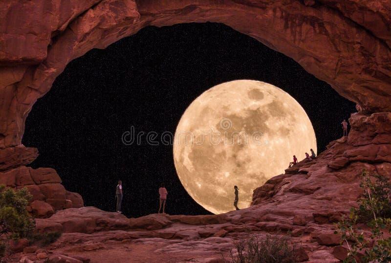 Sorgere della luna al parco nazionale di arché fotografia stock