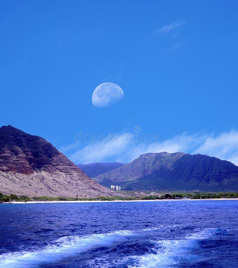 Sorgere della luna Oahu Hawai fotografia stock