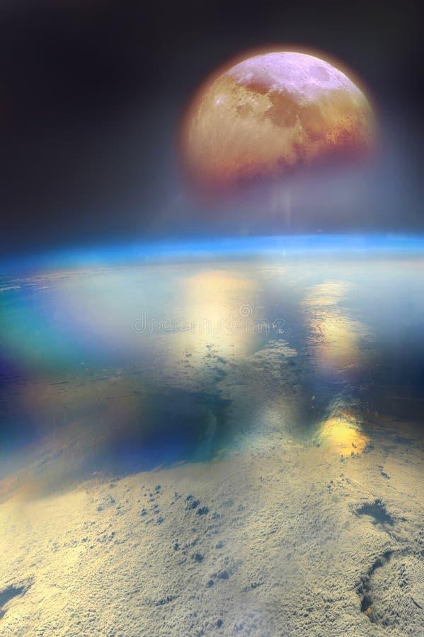 Sorgere della luna sopra la terra illustrazione vettoriale