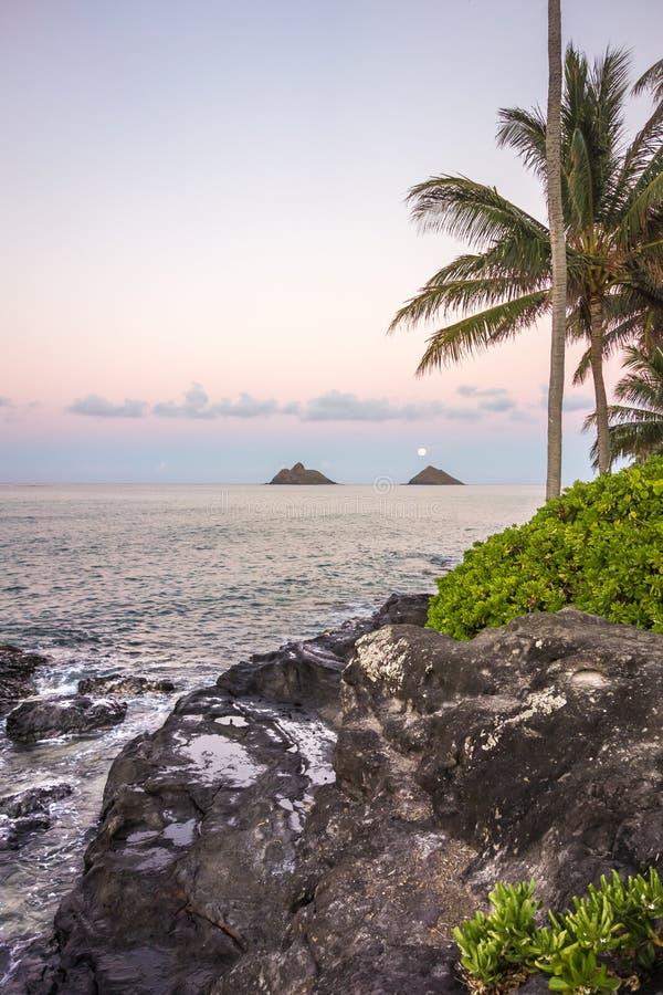 Sorgere della luna sopra Lanikai, Hawai immagini stock libere da diritti