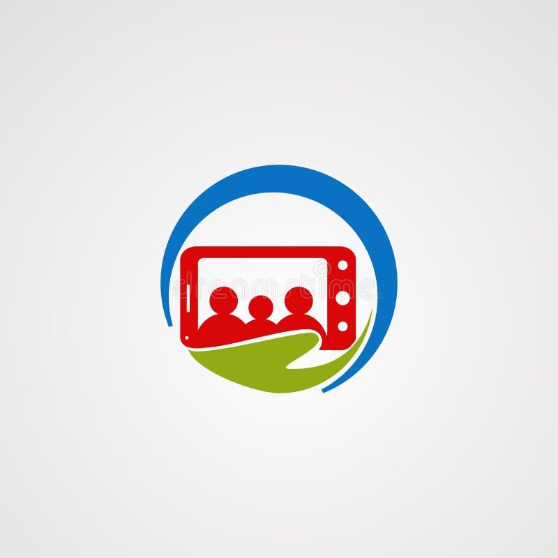 Sorgfaltlogovektor, -ikone, -element und -schablone der Familie beweglicher für Firma lizenzfreie abbildung