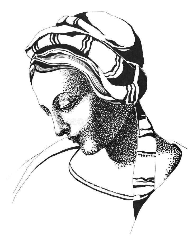 Sorgsen medeltida kvinna med en fundersam blick stock illustrationer