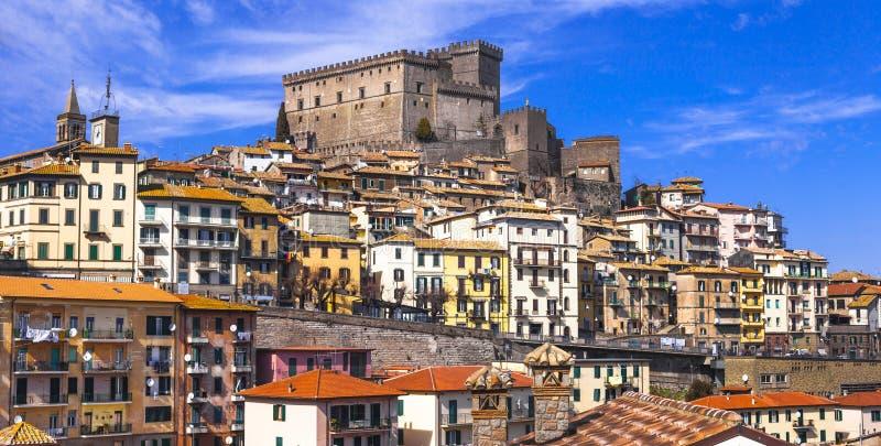 Soriano nel cimino , Italy. Soriano nel cimino , view with castello Orsini - authentic medieval town in Lazio, Italy royalty free stock photo