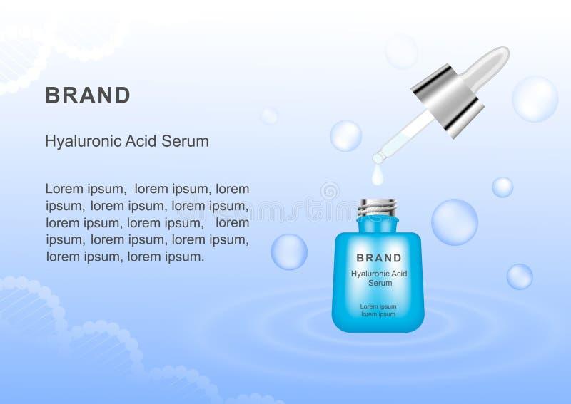 Soro com ácido hialurónico Molde para anunciar seu produto ilustração stock