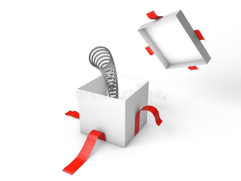sorpresa Abra la caja de regalo blanca con la primavera dentro ilustración del vector