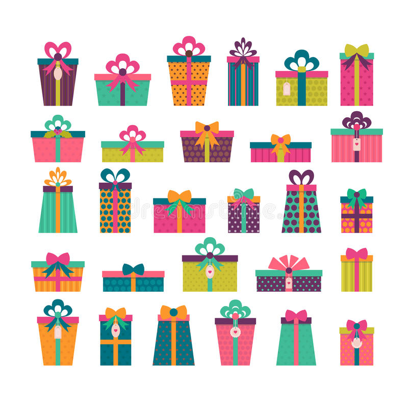 Sorpresa del cumpleaños Sistema de diversas cajas de regalo Colorido envuelto ilustración del vector