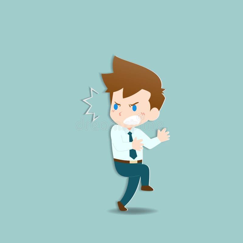 Sorpresa dell'uomo d'affari, emozione di scossa con progettazione di carattere di sforzo Gente di affari nella preoccupazione di  illustrazione di stock