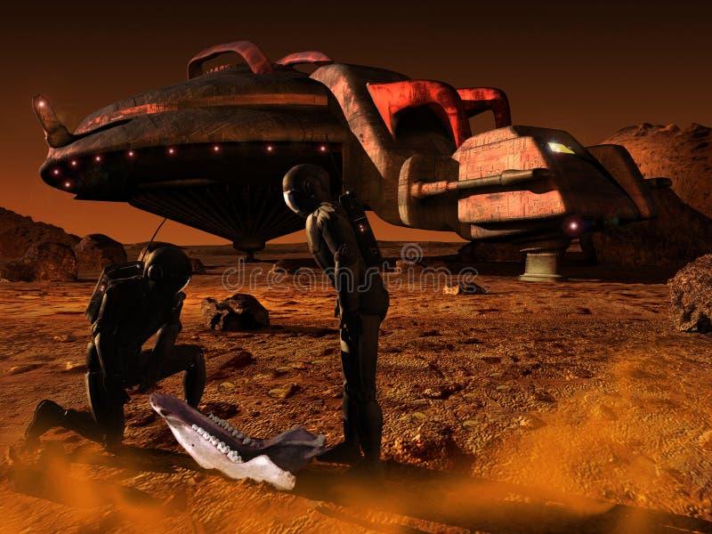 Sorpresa en el planeta Marte stock de ilustración