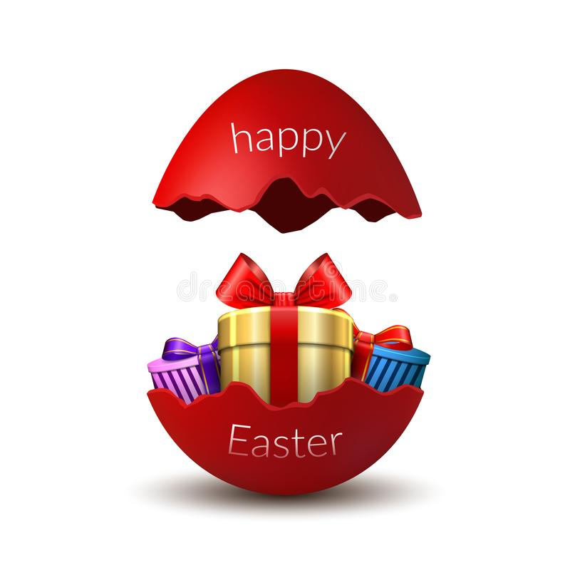 Sorpresa feliz del huevo de Pascua de la caja de regalo Huevo rojo roto de Pascua 3D, aislado en el fondo blanco Tarjeta de la pl libre illustration