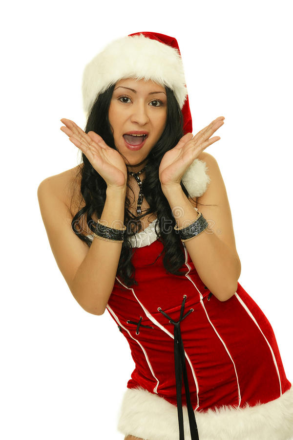 Sorpresa - muchacha muy sorprendida de la Navidad imagen de archivo