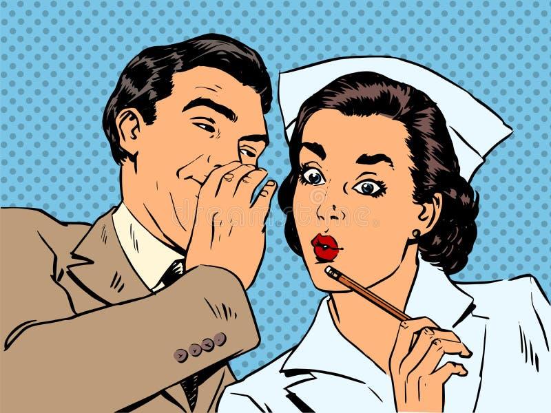Sorpresa paziente del gossip dell'infermiere e del maschio di diagnosi royalty illustrazione gratis