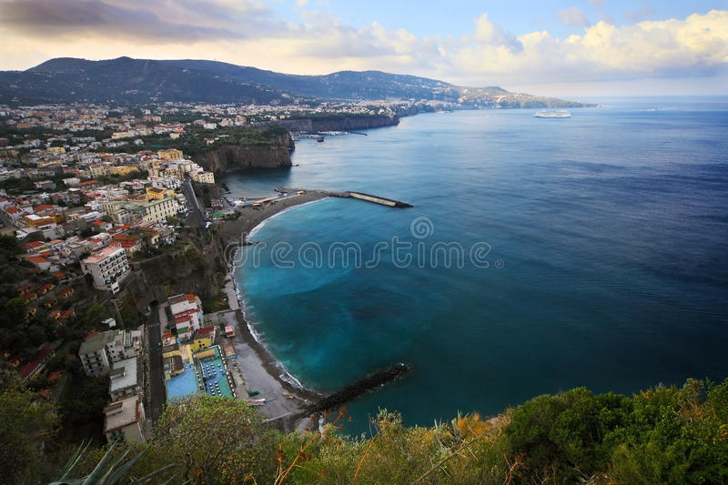 Sorrento. Panoramic view on Sorrento peninsula and bay stock images