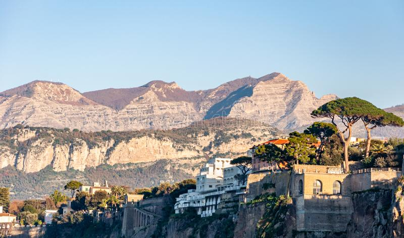Sorrento, Amalfi Coast, Italy. Sorrento, on the famous Amalfi Coast, in the Gulf of Naples and close to Amalfi, Positano and Pompeii. View of the cliff side of stock images