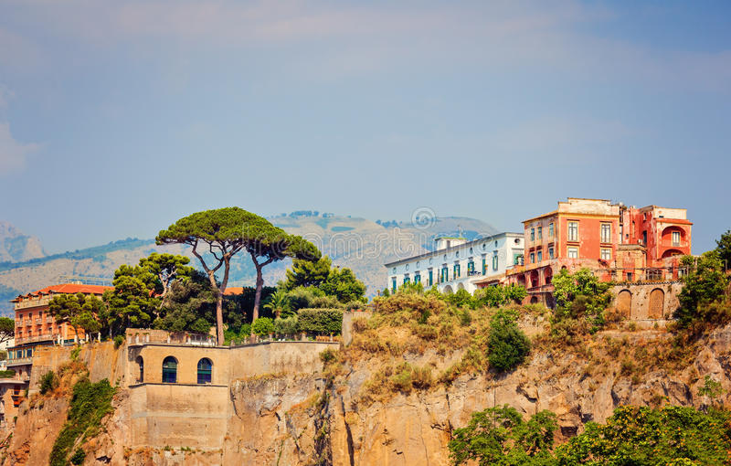 Sorrento coast. Architecture and nature on a coast of Sorrento in Italy royalty free stock photo